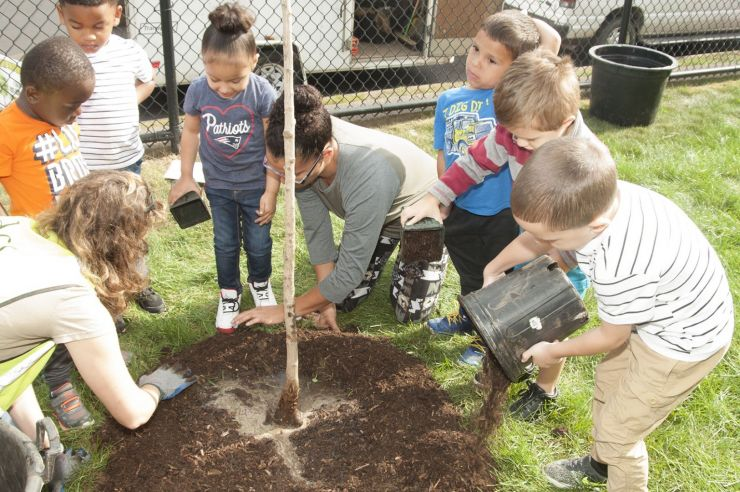 Mt. Carmel Center Kids Help Plant Trees at VOC